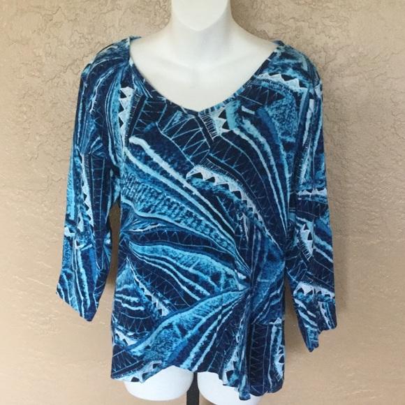Additions Chico's Blue Mosaic Print Shirt 2 L EUC